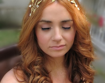 Gold leaf wreath, Gold leaf bridal crown, Wedding grecian halo, Greek headwear, Bridal leaf hair vine,Wedding hair adornment,Hair jewellery