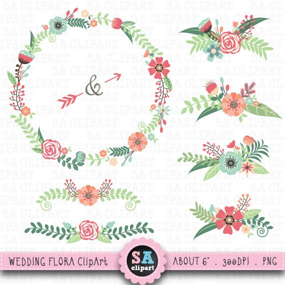 Clipart Flowers Wedding Invitation Clipart Flowers: Clipart Mariage FLORA De Mariage Clipart Pack Vintage