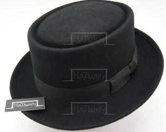Vintage x Trendy Wool Felt Pork Pie Hat - Black