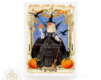 Halloween card, halloween witch, Gothic, holiday card, Marie Antoinette, let them eat cake, pumpkin, macarons, black cat, crows, spiders
