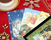 4 Christmas Angels Postcards, Merry Christmas, Stocking Stuffers, special treat