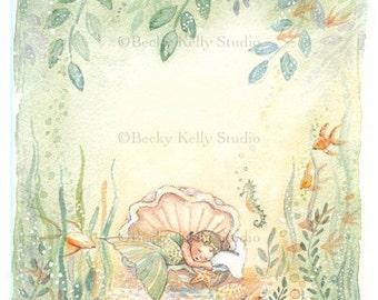2 Sleeping Baby Mermaid cards, Blank Baby Girl Card, 4.25 X 5.5, note card,  2 mermaid cards