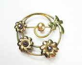 Vintage 1940s Floral Circle Brooch - Pearl - Purple Rhinestones - Gold Filled - Spiral - Bow - Flowers