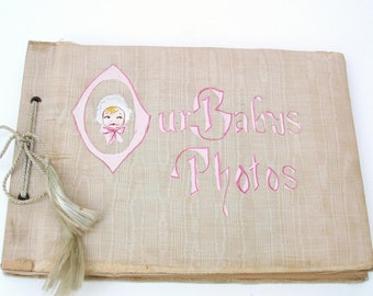 Vintage Baby Photo Book 15 Old Photographys Baby Album Old Family Pictures Pink Beige Collectible Book