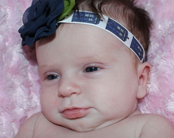 Doctor Who, The 11th Doctor, Baby Headband, Tardis, Stretchy Headband with Chiffon Rose