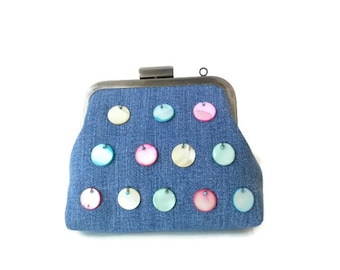 Upcycled Denim Purse Metal Frame Purse Cosmetic Bag with Mother of Pearl Beads Beaded Kiss Lock Purse Coin Purse Birthday Gifts