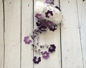 Purple Crochet Lariat Necklace Oya Purple Lavender Flowers Gray Leaves Natural Stones Jewellery Beadwork ReddApple, Fast Delivery