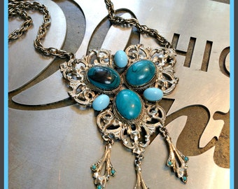 Vintage Silver & Turquoise Necklace Large Chunky with Three Dangles Large Stones FREE SHIPPING