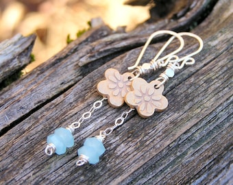 SALE. blue chalcedony gemstones, artisan made golden bronze flower charms, and sterling silver filled dangle earrings. mixed metal earrings.