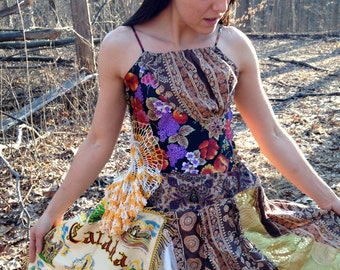 Forest Frolic Dress- Upcycled and Vintage