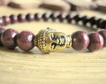 Mens Buddha Bracelet - Rosewood Bracelet for Men with Gold Buddha and Baltic Amber Bead, Mens Gift