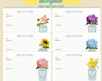 PRINTED RECIPE CARDS - Vintage Floral | Flowers in Mason Jar Recipe Card Set | Personalized 4x6 Cards with rounded corners