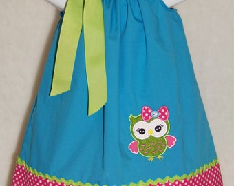 OWL Pillowcase Dress / Blue / Pink / Lime / Cute / Girly / Birthday / Newborn / Infant / Baby / Girl / Toddler / Custom Boutique Clothing
