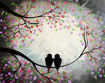 Acrylic painting of birds