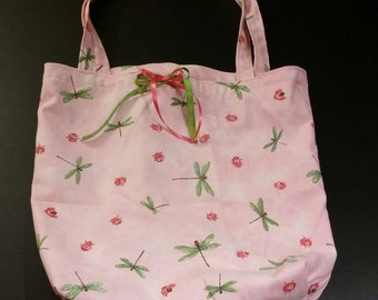 Pink Dragonfly and Ladybug Tote Bag
