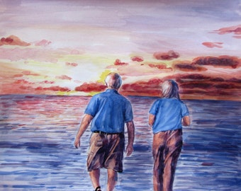 Watercolor Painting from Photo, 2 figures, delivery rolled in art tube (without frame)