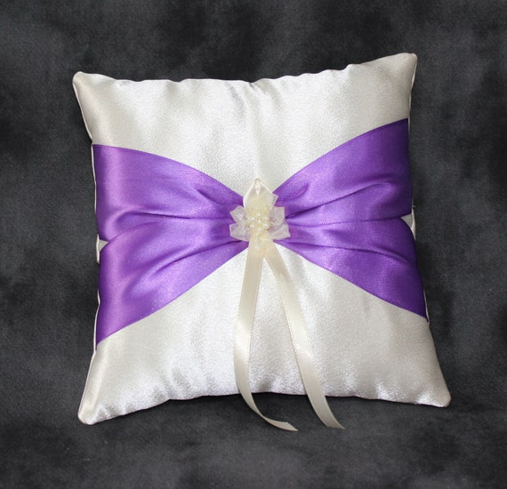 Purple Ring Bearer Pillow Ivory Ring Pillow Wedding By