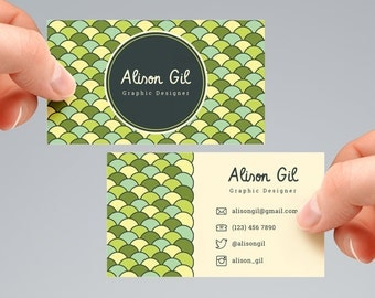 Circle Pattern Business Card Template, Digital File. BCTD
