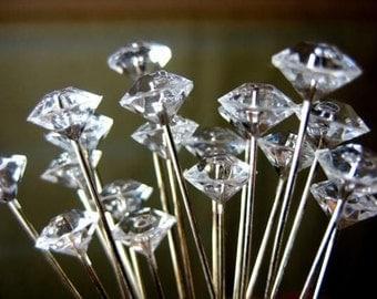 Wedding Bouquet Floral Corsage Boutonniere Pin Gem Jewel Diamond Gem Crystals Rhinestones Pack of 100