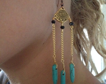 Gold and turquoise, dangly chain earrings