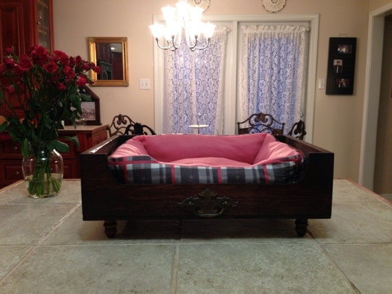 Small wine crate pet bed stained red mahogany with by for Small wine crates