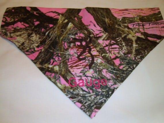 Dog Bandana, Camo, Pink,  Personalized, True Timber, Over the Collar, Dog Bandana, Scarf