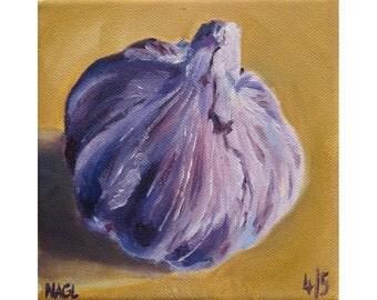 Garlic Bulb (May 2014) original oil painting still life on box canvas