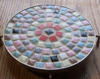 Kitchen Mosaic Round Tile Footed Trivet 1960 Era