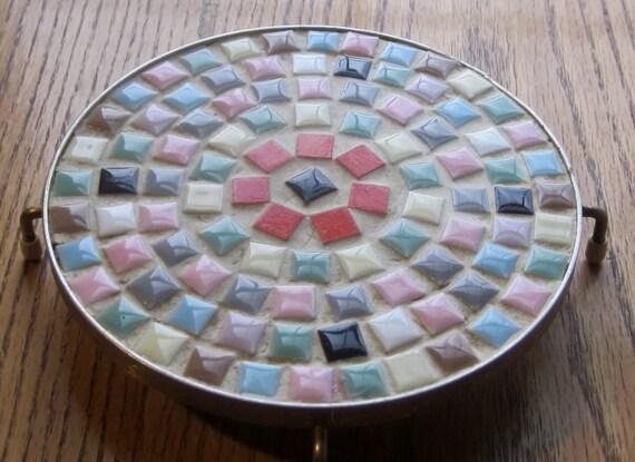 Cucina mosaico piastrelle rotonde Footed di LeftoverStuff su Etsy