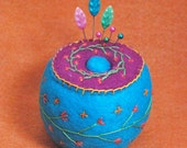 FREE SHIP Bright Little Flowers Cute Pincushion made to order