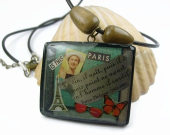 Retro Paris Daydream Art Collage With French Quote Pendant Necklace
