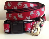 Crimson with Gray Elephants or Gray with Crimson Elephants Leash and Collar Set