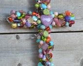 Beaded Wire Wall Cross RESERVED LISTING for Margaret