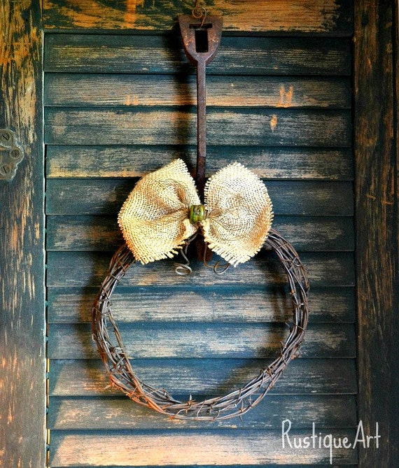 Barbed Wire Wreath with Burlap Bow