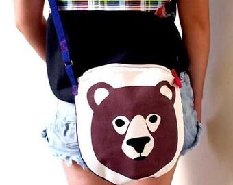 Bear Bag, Bear Crossbody Bag, Bear Sling Purse, Honey Bear Crossbody Sling Purse, SCARLET RED Color