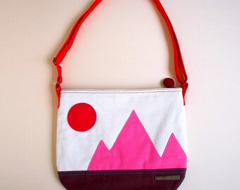 SALE ITEM - Fabric Crossbody Bag, Vegan Crossbody Bag, Crossbody With Zipper, Crossbody Bag Women, Sling Bag For Woman, SUNRISE Mountains