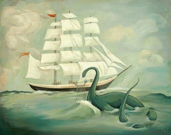 The Unsuccessful Capture of the Great New England Sea Monster Print 10x8 by Emily Winfield Martin
