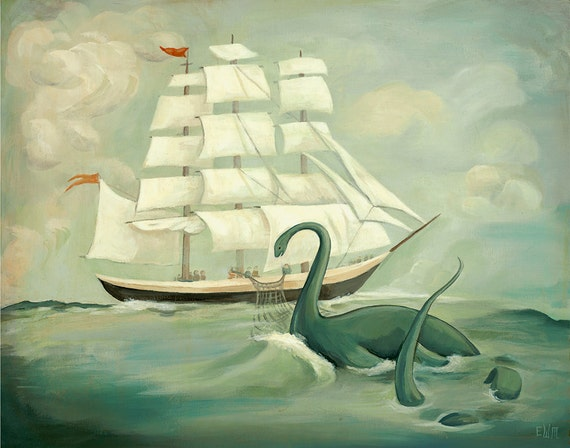 The Unsuccessful Capture of the Great New England Sea Monster / Large Print 14x11