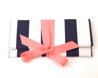 Navy Stripe Clutch with pink coral bow