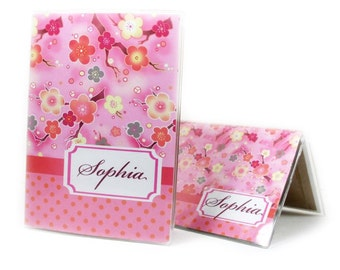 Sweet Sakura gift set - personalized checkbook cover and passport holder - pink cherry blossom accessories