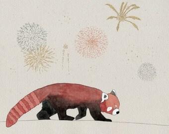 Red Panda Fireworks print