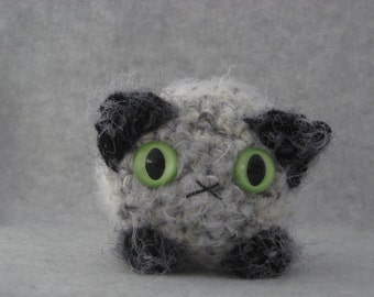 Crocheted light and dark grey seal-point plush kitty