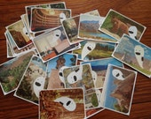 FIVE Parcel Ghost mail haunting travel postcard stickers