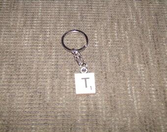 Letter T Scrabble Tile Keychain
