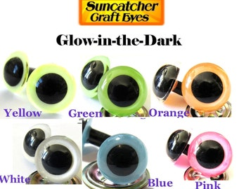 5 Pair of Glow-in-the-Dark Premium craft animal eyes with washers - You Choose The Size & Color