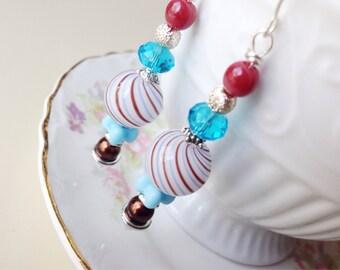 Blown Glass Earrings, Long Beaded Earrings, Turquoise and Brown Earrings, Striped Earrings, Surgical Steel, KreatedByKelly