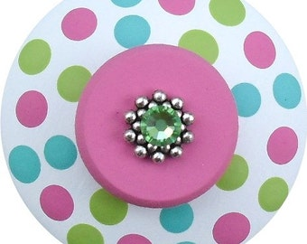 Pink Apple Green and Turquoise Polka Dots Swarovski Crystal Jeweled Hand Painted Wood Dresser Decorative Girl Furniture  Drawer Pull Knobs