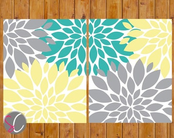 Great Floral Flower Burst Gray Yellow Teal Wall Baby Decor Bedroom Bathroom Set  Of 2 11x14 High