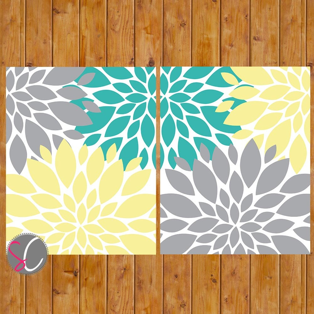 Floral flower burst gray yellow teal wall baby decor bedroom for Teal and grey bathroom sets