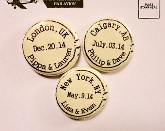 Custom Made Personalized Wedding Favors - 100 Handmade 1 Inch Pinback Buttons - The Place, The Date And The Happy Couple